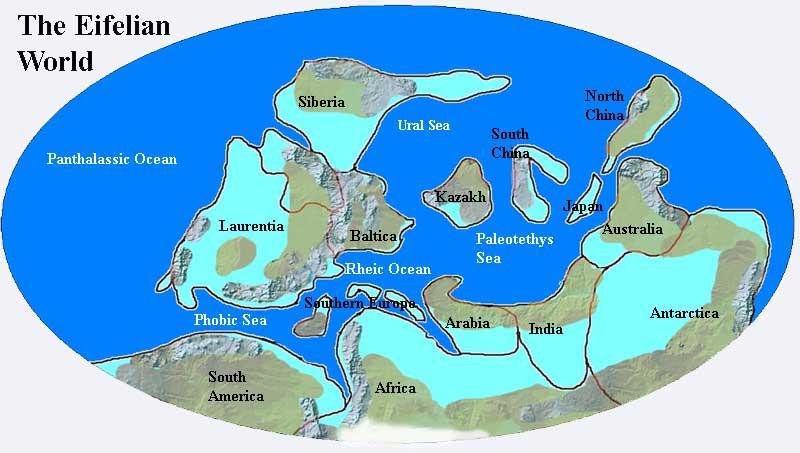 Paleozoic era map