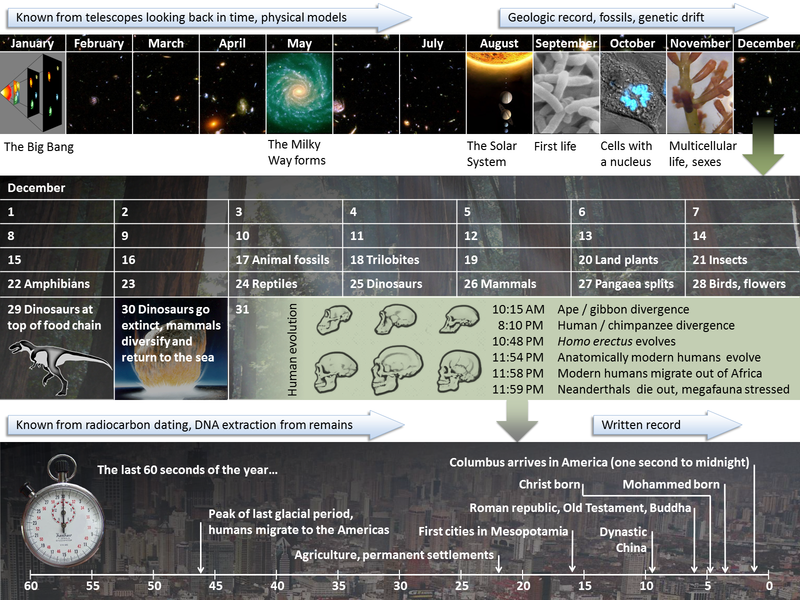 Cosmic Calendar.Palaeos Time The Cosmic Calendar
